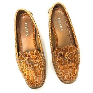 Prada Croc Embossed Tan Loafers Driving Shoes